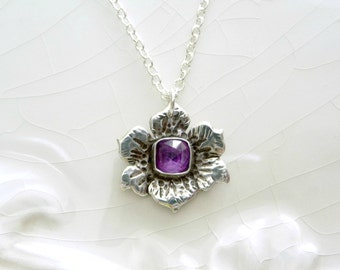 Little Amethyst Poppy Necklace - Amethyst Gemstone, .925 Sterling Silver, OOAK Gift perfect for Teen, February Birthstone