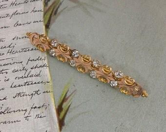 "Antique Victorian  Rhinestone Bar Pin Brooch 2.1/2""    MAH13"