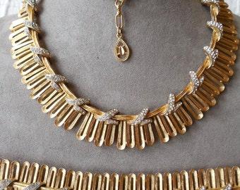 Gold & Rhinestone Choker Necklace and Bracelet Set