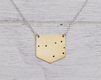 Pleiades 'Seven Sisters' Constellation Necklace in Brass or Sterling Silver