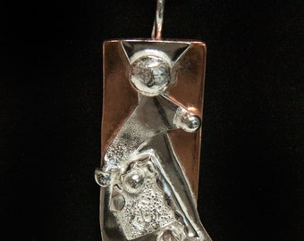 sterling silver and copper pendant