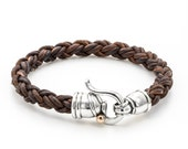 BRAIDED LEATHER BRACELET for men/ leather Bracelet for men/  handmade Bracelet silver clasps / dot Gold  / gift idea / black braided leather