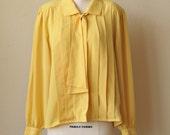 Bright Yellow Secretary Bow Tie Blouse //1980s Pleated Size Medium