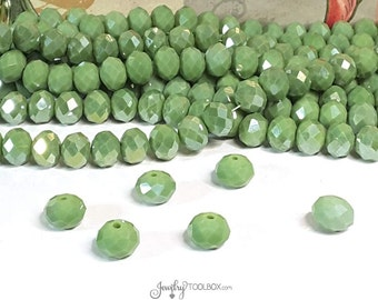 OLIVE GREEN Crystal Rondelle Beads, Faceted Glass Abacus Green Beads, 10x7mm, Hole 1mm, Lot Size 10 to 36 Bds, #1007 OG