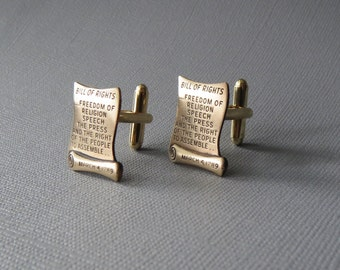 Bill of Rights Cufflinks -- Lawyer Judge Cuff Links Grad Gift Brass Cufflinks
