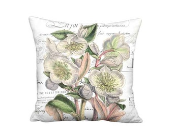 Pillow Cover - Pillow - Hellebore Heaven Pastel French Botanical Famous France Flower - 16x 18x 20x 22x 24x 26x Linen Cotton Cushion Cover