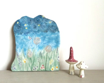 Handmade Ceramic plaque, Colourful Art Tile, Spring Flowers Pottery, Stars Sky Tile, Modern Home Decor, Natural Design, Spring Meadow Art.