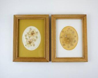 Vintage Pair of Framed 6x8 Pressed Wild Geranium Flowers - Folk Art