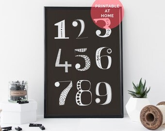 TYPOGRAPHY Art Black and White Art Number Art Typography Art Print Black and White Art Print Printable - Artwork For Nursery - 8 x 11 Print