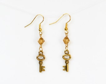Gold Toned Skeleton Key Earrings with Gold Champagne Bicone Crystal Beads