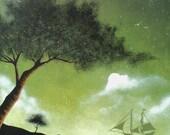 "City of Refuge 8"" x 10"" print of an original acrylic painting by Owen Klaas green ship ocean sea tree"