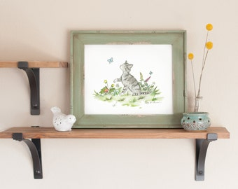 Kitten Nursery Art- Tabby Kitten Print - Tabby Cat Watercolor- Kid's Wall Art- Children's Cat Art- Cat Nursery Art- Nursery Decor New Baby