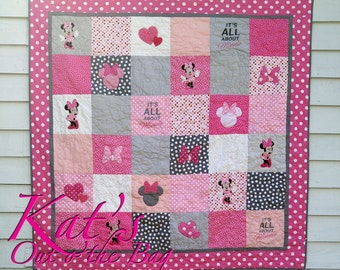 Minnie Mouse Quilt and Disney Themed Toddler Bed Quilt or Small Throw Quilt