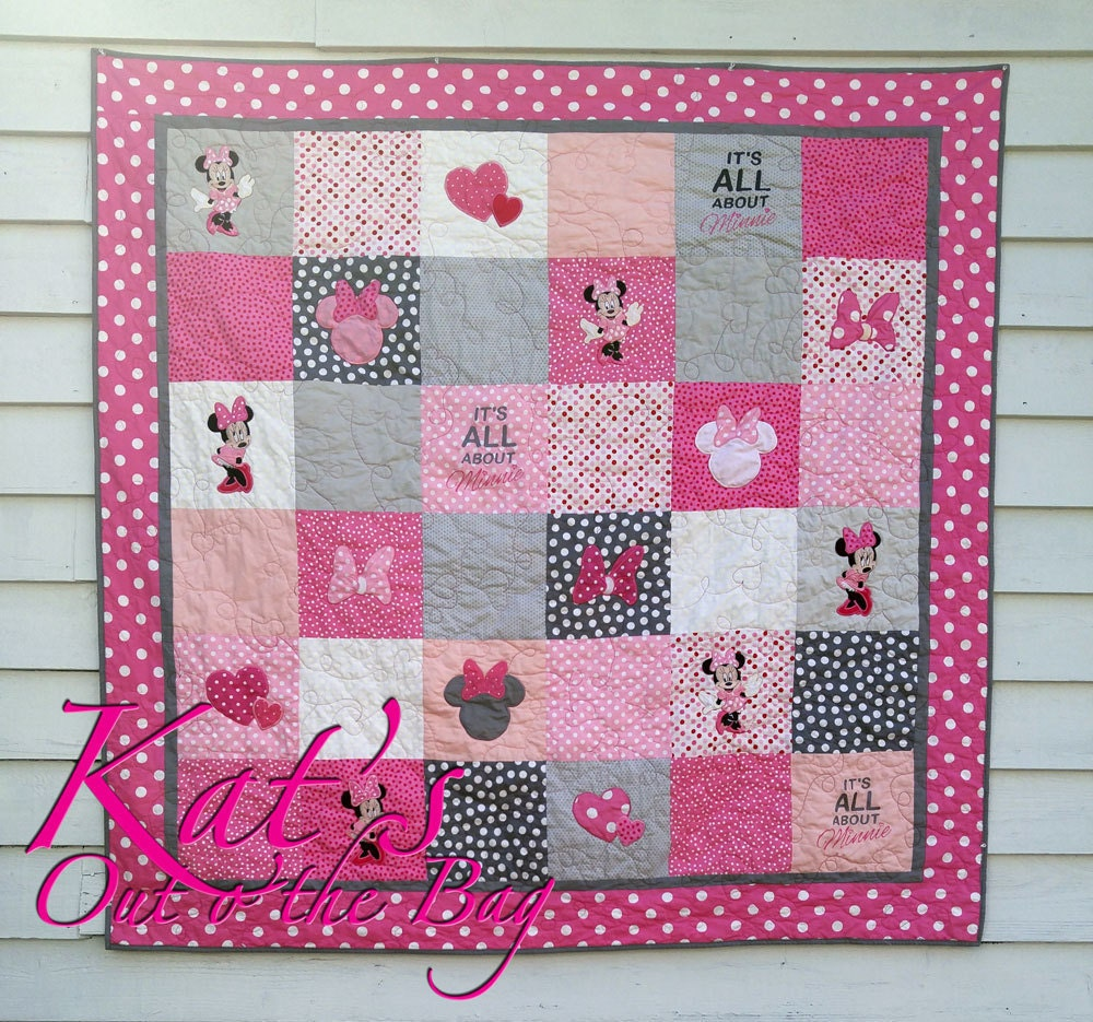 Minnie Mouse Quilt And Disney Themed Toddler Bed Quilt Or
