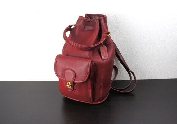 Vintage Coach Drawstring Duffle Sling Backpack Red Leather