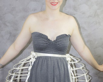 Two pieces worn together double pannier ivory ribbon and lacing Crinoline long cage hoop bustle