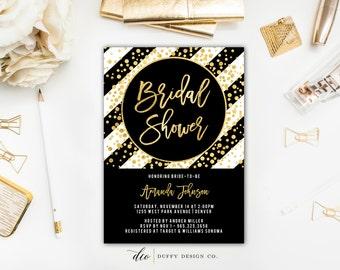 Black & Gold Bridal Shower Invitation, Bachelorette Invite, Gold Confetti Invitation, Bridal Shower Invite, Girls Night Out, Brunch Invite