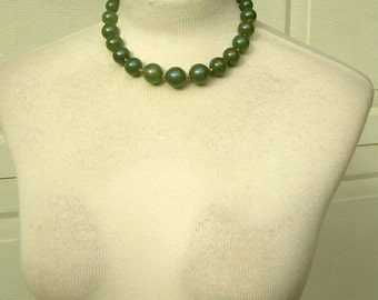 Vintage MONET Necklace Chunky Jade Green Acrylic Slightly Graduated Big Beads Hand Knotted Excellent Condition