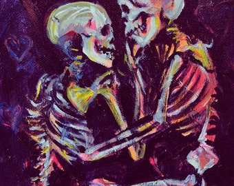 Passion of Lovers (Is for Death), A4 Fine Art Painting Print of Skeleton Lovers in Final Embrace
