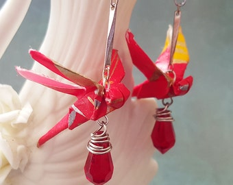 Origami Dragonfly Earrings Red Crystals, Origami Jewelry, Asian Jewelry, Japanese Earrings, Handmade, Birthday / Anniversary / Valentines