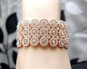 Wedding Rose Gold Bracelet, Crystal Bracelet, Bridal Cuff Bracelet, Rhinestone Bracelet, Rose Gold Jewelry, Wedding Accessories