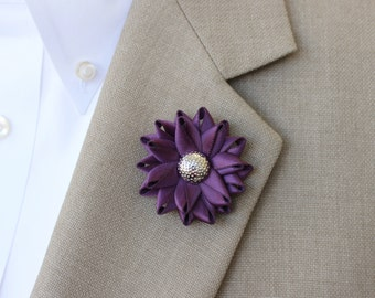 Mens Lapel Pin, Mens Flower Lapel Pin, Mens Wedding Boutonnieres, Purple Wedding Boutonniere, Amethyst, Silver, Lapel Pins for Men