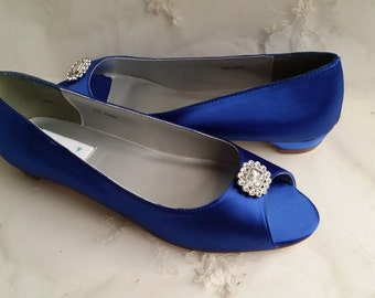 Blue Wedding Shoes with Crystal Square Brooch Blue Bridal Shoes Blue Bridesmaid Shoes - Over 100 Colors To Pick From