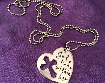 God is Within Her Hand stamped Scripture Necklace