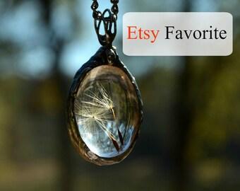 Dandelion Necklace, Real Dandelion Seeds, Glass Art Necklace, Real Dandelion Jewelry, Dandelion Seed Necklace, Glass Art, Dandelions (2248)