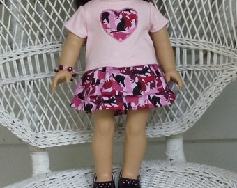 Pink Camo Kitty Skirt Outfit-Handmade To Fit American Girl Dolls and Other 18 Inch Dolls