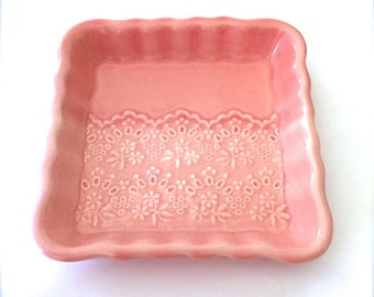 Handmade Porcelain Lace Jewelry Dish, Pink Ceramic Lace Ring Dish, Jewelry Holder, Square Plate