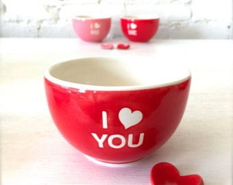 Handmade I Love You Porcelain Red Bowl and Heart Cutlery Rest with Love Heart Gift Tag Set, Lovely gift for your loved one