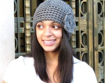 Crochet Hat, Beanie, Cloche, Flower, Adult, Women, Teen, Gray, Ready To Ship