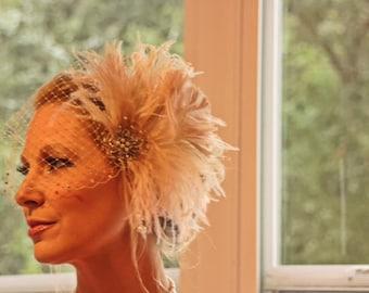 Fascinator, Wedding Fascinator, Wedding Headpiece, Bridal Fascinator, Wedding Veil, Bridal Headpiece - Champagne and Ivory