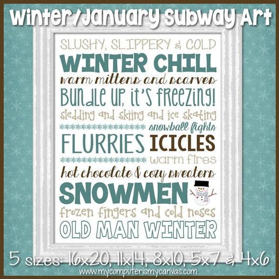 WINTER Subway Art, January Decor - Printable INSTANT DOWNLOAD
