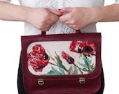 Sale Burgundy bag, Leather bag, Burgundy backpack, Needlepoint bag, Flower bag