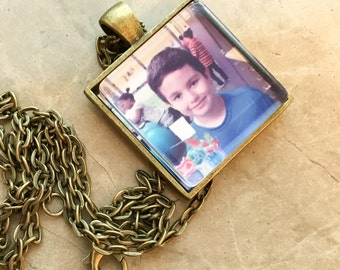 "Square Photo Pendant with 24"" chain, Personalized Photo Pendant, Personalize Picture Necklace, Picture Pendant"