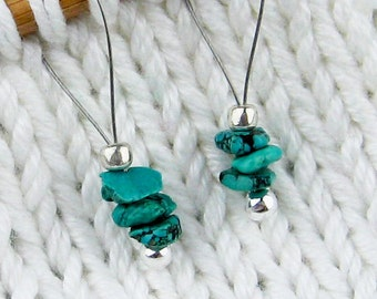 Stitch Markers, Knitting, Natural Turquoise, Semi-Precious Stones, Snag Free, Gift for Knitters, Jeweled Tool, Knitting Accessory, Supplies