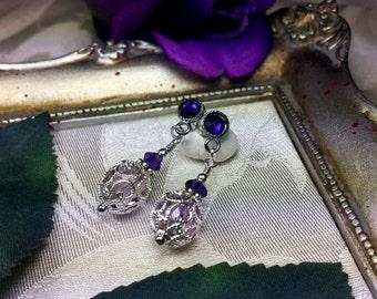 Purple Crystal Drop Victorian Earrings, Lilac Purple Vintage Edwardian Bridal Style Dangle Drops Silver Filigree Titanic Temptations Jewelry