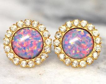 Opal Earrings,Opal Stud earrings,Opal stud earrings,Swarovski stud earrings,gift for her,Australian Opal,Purple Earrings,Opal Violet Studs