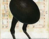 """Medium Giclee Print from my Orignal Collage """"Egg with Legs"""" - Egg, Bird, Sci Fi, Surreal, Pop, Surrealism, Collage, iwearpartyhats, Weird"""