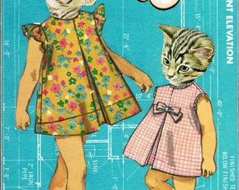 "Medium Giclee Print from My Original Collage ""Molly and Sarah"" - Cute, Cat, Kitten, Turquoise, Surreal, Collage, Retro, Vintage"