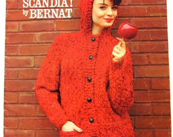 SCANDIA! by BERNAT HANDICRAFTER Book 98 Knitting with Size 13 Needles Vintage 1961 Patterns