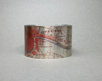 New Orleans Louisiana Cuff Bracelet NOLA Vintage Map for Men or Women