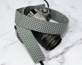Camera Strap - Grey Polka Dot - dSLR Camera Strap - Long Camera Strap - Photographer Gift - Long Camera Strap