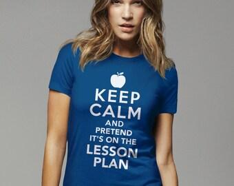 Funny Teacher T-Shirt, New Teacher Gift for Teacher Graduation, Teaching School Gift, Keep Calm Its Lesson Plan, Funny Gifts for Teacher Tee