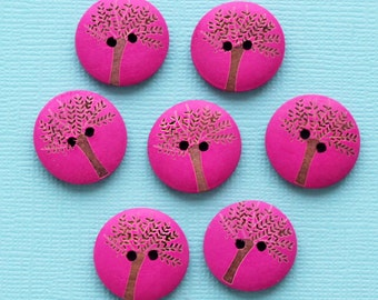 10 Tree of Life Wooden Buttons for Sewing and Crafting - BUT464
