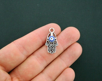 4 Hamsa Hand Charms Antique Silver Tone and Enamel - SC5740