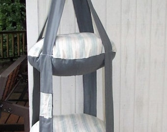Cat Bed, Blue & Tan Stripe Double Kitty Cloud, Hanging Cat Bed, Pet Furniture, Cat Tree, Pet Gift