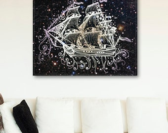 ON SALE 20% OFF nautical ship canvas print - large wall art - magical ship print